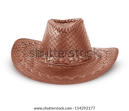 hat brown isolated on white - stock photo