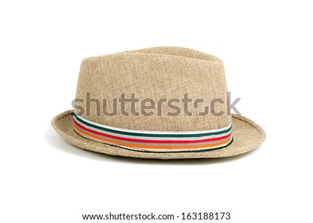 hat closeup isolated on white - stock photo