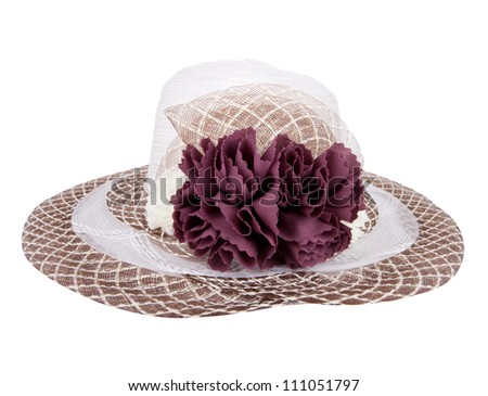 hat flowers,  isolated on white - stock photo