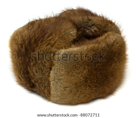 Hat from fur of the muskrat on white background - stock photo