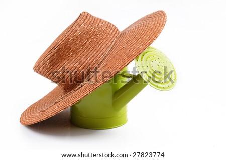 Hat of gardener  on white background - stock photo