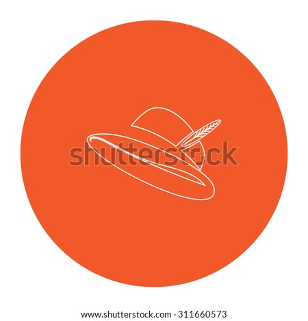 Hat with a feather. Flat white symbol in the orange circle. Outline illustration icon - stock photo