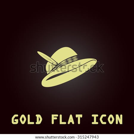 Hat with a feather. Gold flat icon. Symbol for web and mobile applications for use as logo, pictogram, infographic element - stock photo