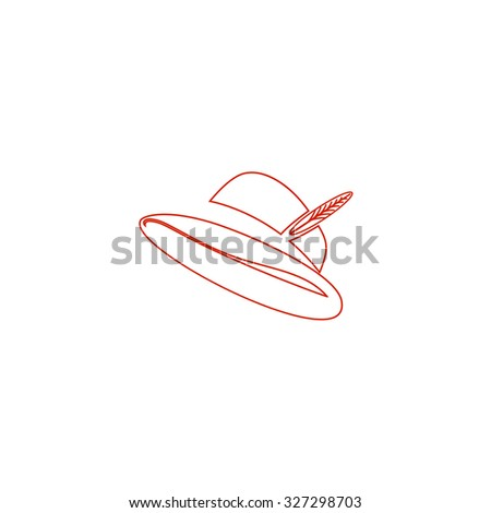 Hat with a feather. Red outline illustration pictogram on white background. Flat simple icon - stock photo