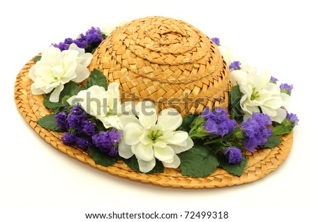 Hat with Flowers - stock photo