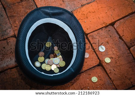 Hat with money - stock photo