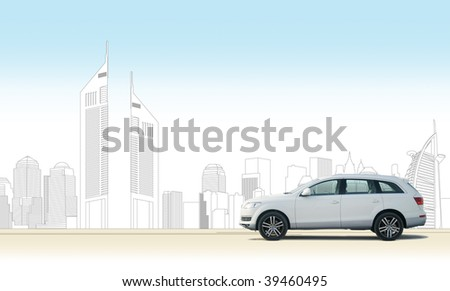 Hatchback car with Dubai city skyline in illustrations. PSD file available upon request. - stock photo