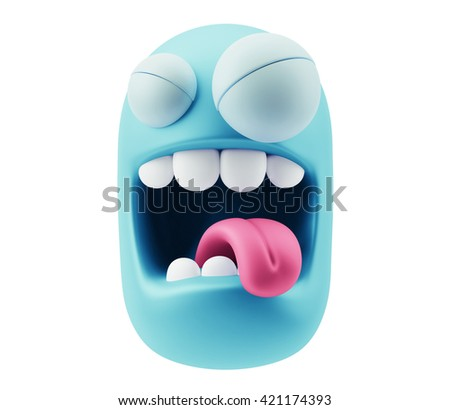 Hate Emoticon Character Face Expression. 3d Rendering. - stock photo
