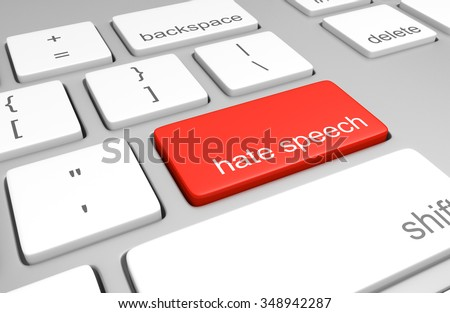 Hate speech key on a computer keyboard representing online defamatory comments - stock photo
