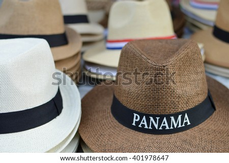 Hats are sold as souvenirs in Casco Viejo district of Panama City, Panama, Central America. Shallow DOF - stock photo