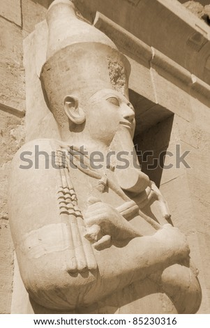 Hatshepsut or Hatchepsut; meaning Foremost of Noble Ladies was the fifth pharaoh of the eighteenth dynasty of Ancient Egypt. She is  regarded by Egyptologists as one of the most successful pharaohs - stock photo