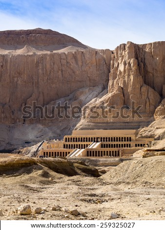 Hatshepsut temple at west bank of Luxor. Travel in Egpyt, famous Egyptian  landmarks. Ancient columns of the Hatshepsut Temple at Valley of Kings. - stock photo