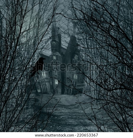 Haunted house and raven - stock photo
