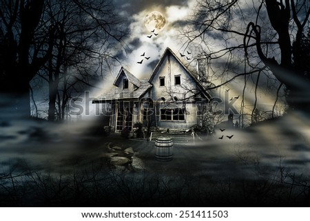 Haunted house in the forest - stock photo