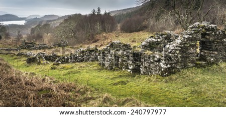 Haunting remains of Arichonan Township, cleared village in the Highlands of Scotland. - stock photo