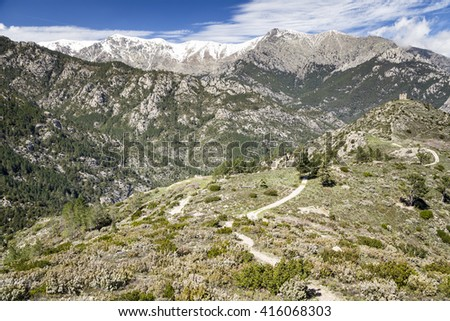 Haute Corse moutains, Vivario region - stock photo