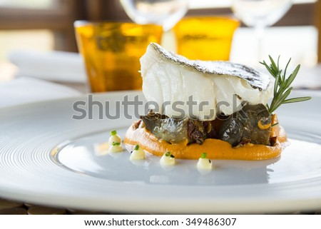 Haute cuisine deluxe fish dish - stock photo