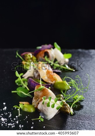 Haute cuisine, Gourmet food scallops with asparagus and lardo bacon - stock photo