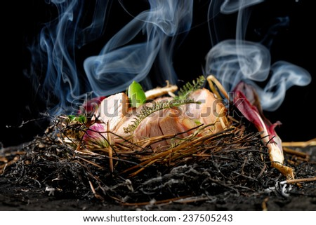 Haute cuisine, Lamb cutlets baked in the straw - stock photo