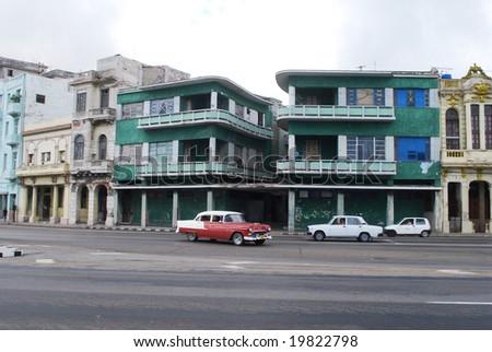 Havana and retro cars - stock photo