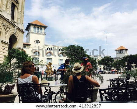 HAVANA - APRIL 27: Street view from the the streets of Old Havana, Cuba on April 27, 2016 - stock photo