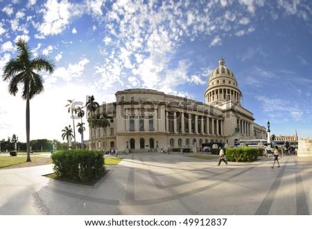HAVANA - CIRCA DEC 2009. View of Havana National Capitoly Building, one of the most relevant city landmarks built in 1929. Taken in Havana, circa dec 2009. - stock photo