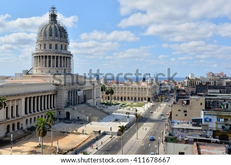Havana, CUBA - APRIL 8, 2016: Havana from above. Street of Havana with old cars. Cuba - Havana capitol. Cuba. Havana, Havana, Havanna, Havanna. Havana historic. Editorial photo.  - stock photo
