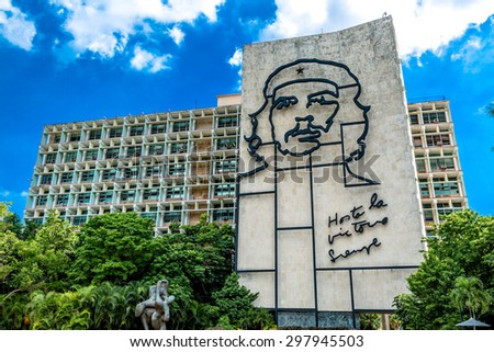 HAVANA, CUBA - CIRCA JULY 2015: Ministry of the Interior building with face of Che Guevara located in Revolution Square, Cuba. - stock photo