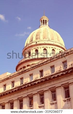 Havana, Cuba - city architecture. National Capitol (Capitolio Nacional) building. Filtered colors style. - stock photo