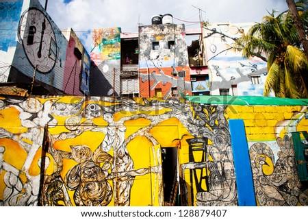 HAVANA, CUBA - DEC 30: graffiti on Callejon de Hamel alley on December 30 2012 in Havana, Cuba. Callejon de Hamel is considered a public temple to Santeria religion and afrocuban culture. - stock photo