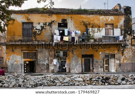 HAVANA, CUBA - DECEMBER 1, 2013: Typical colonial house in Havana street, Cuban architecture - stock photo