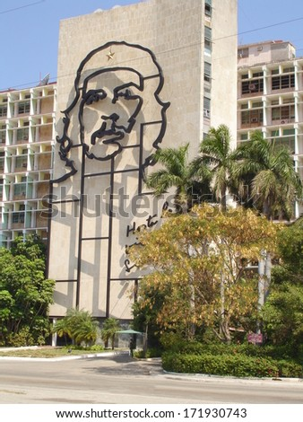 HAVANA, CUBA - FEBR. 8 :The Che Guevara Monument in the Revolution Square FEBRUARY 8,2013 in Havana,Cuba.This building with the iconic image of Che Guevara is a important landmark of Cuba - stock photo