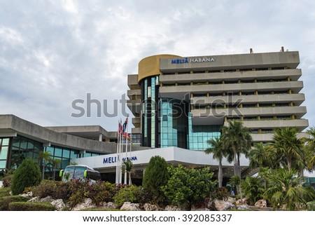 HAVANA,CUBA-FEBRUARY 9,2016:Melia Habana exterior facade architectural detail. Located in Havana quiet and quaint Miramar district the Melia Habana is a landmark Cuban hotel  - stock photo