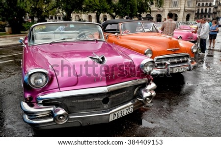 Havana, CUBA - JANUARY 14, 2016: Cars. Havana old classic American car on street of Havana,CUBA.  Cars. Cuba - Havana. Cuba cars in Havana. Cars. Cuba, Havana  historic. Cars. Editorial  photo.     - stock photo