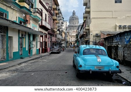 Havana, CUBA - JANUARY 12, 2016: Havana old classic American car on street of Havana,CUBA. Cuba - Havana. Cuba cars in Havana. Cuba, Havana historic. Editorial photo. - stock photo