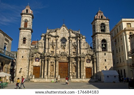 HAVANA, CUBA - JANUARY 21: San Cristobal Cathedral on 21 January, 2014, Havana, Cuba. Roman catholic religion is very strong all over Cuba, in spite of the strong communist effects. - stock photo