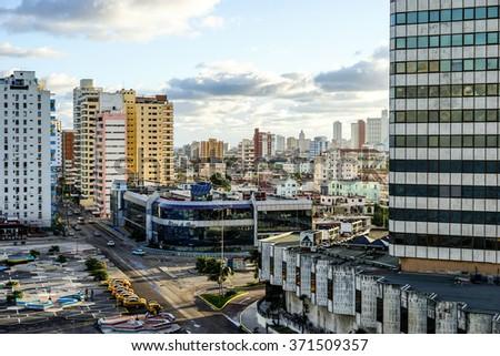 Havana, Cuba - January 5, 2016: view  over the Capital of Cuba. - stock photo