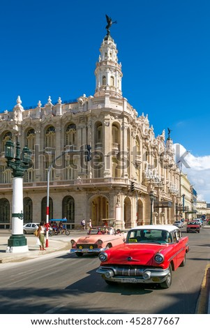 HAVANA,CUBA - JULY 14,2016 : Old classic cars next to the Great Theater in downtown Havana - stock photo