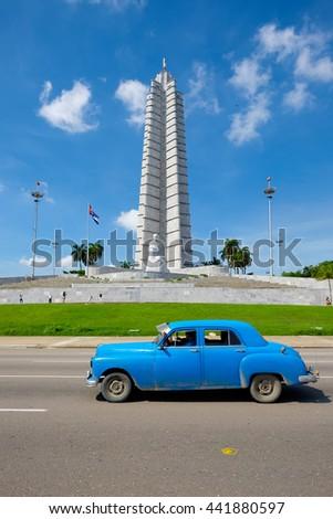 HAVANA,CUBA - JUNE 21,2015 : Old american car in front of the Revolution Square in Havana - stock photo