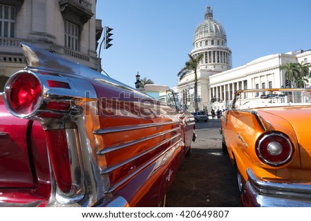 HAVANA, CUBA - May 01, 2016. Vintage cars in front of the Capitol Building - stock photo