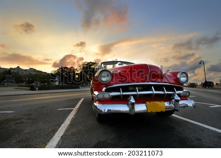 HAVANA, CUBA - NOV 3, 2009: Vintage classic american car parked in a street. Most of this old vehicles are used as private taxi. - stock photo