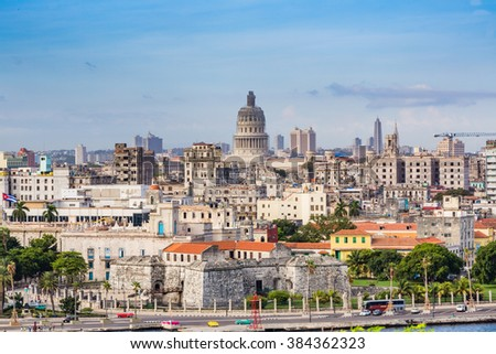 HAVANA, CUBA - OCTOBER 17 -  Historic shoreline of Havana, Cuba on Oct 27, 2015 - stock photo