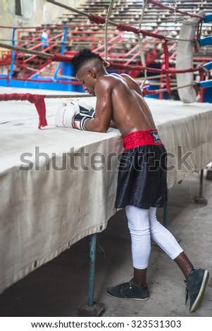 Havana, Cuba - September 22, 2015:  Young boxers train in famous boxing school of Rafael Trejo in Old Havana,Cuba. Box is Cuba national sport as well as baseball. - stock photo