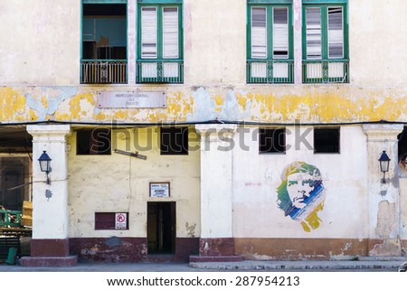 HAVANA-FEB 05 a graffiti with the portrait of Che Guevara on February 05,2015 in Havana, Cuba. He, was an Marxist revolutionary, physician, author, leader, diplomat, and military theorist - stock photo