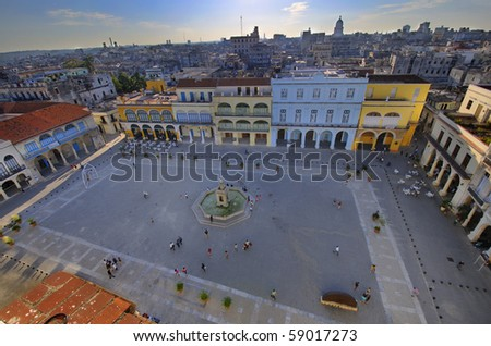HAVANA - FEB 8: Popular Plaza Vieja in Old Havana, declared by UNESCO World heritage site since 1982. Taken on February 8th, 2010 in Old Havana, Cuba. - stock photo