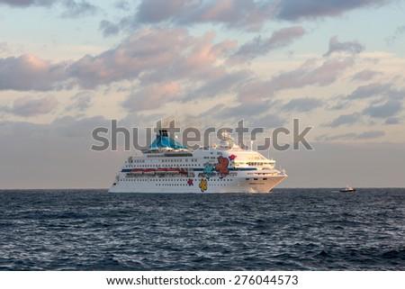 HAVANA-FEB 02:The Louis Cristal ship entering Havana port on February 02 , 2015 in Havana , Cuba :The Louis Cristal is a cruise ship is a cruise ship operated by the Cyprus-based Celestyal Cruises - stock photo