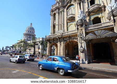 HAVANA - FEBRUARY 27: Classic American cars on February 27, 2011 in Havana. Recent change in law allows the Cubans to trade cars again. Most cars in Cuba are very old because of the old law. - stock photo