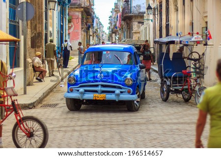 HAVANA - FEBRUARY 12: Classic car parked on the street on February 12, 2013 in Havana. These old and classic cars are an iconic sight of the Cuba island - stock photo