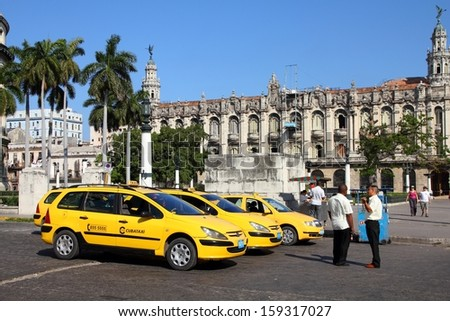 HAVANA - FEBRUARY 27: Taxi drivers wait for customers on February 27, 2011 in Havana. Cubataxi is the official national taxi service, the only that is allowed to be used by foreigners. - stock photo