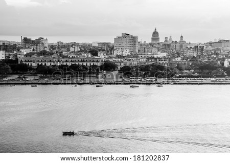 Havana (Habana) in Black and White, view from the Morro and Cabana Castles, across the La Habana bay - stock photo